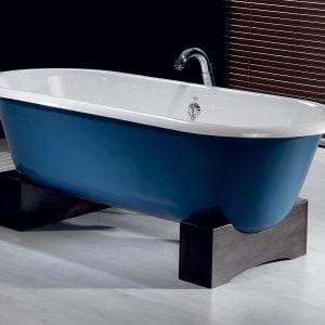 regal cast iron bath with wooden base