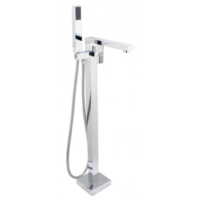 SQUARE Free Standing Tub Filler With Hand Shower