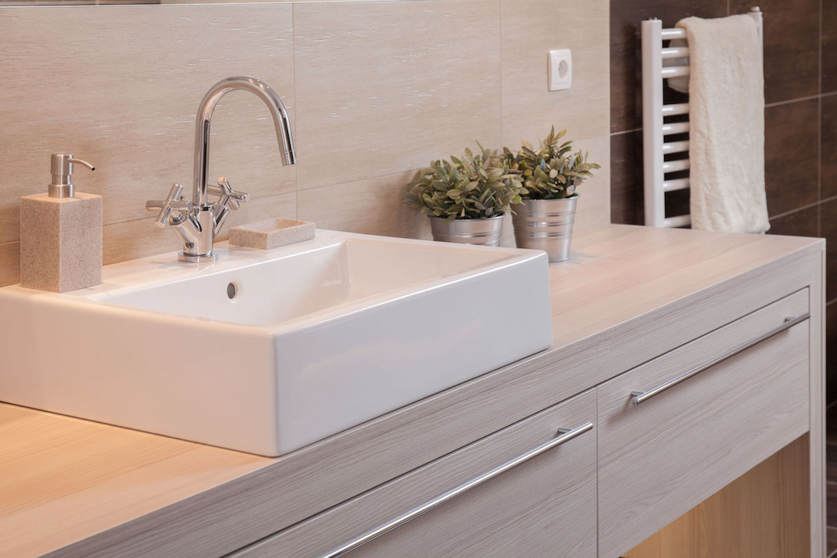 Close-up of square basin - Harmonious Bathroom