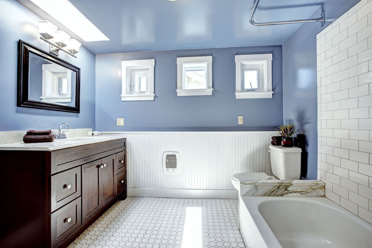 Beautiful lavender bathroom with white wall trim - Harmonious Bathroom